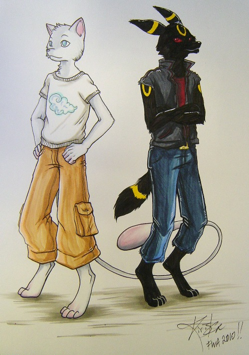 Mew And Umbreon an anthro Mew and Umbreon
