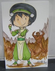 Color sketch card commission of Toph. :3