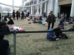 People camped outside the Exhibits Hall, waiting for it to open