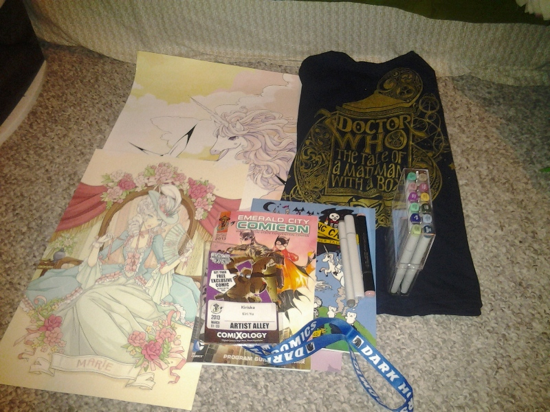 My loot, including two of Amanda's display prints that got too scuffed up for her to want to keep??