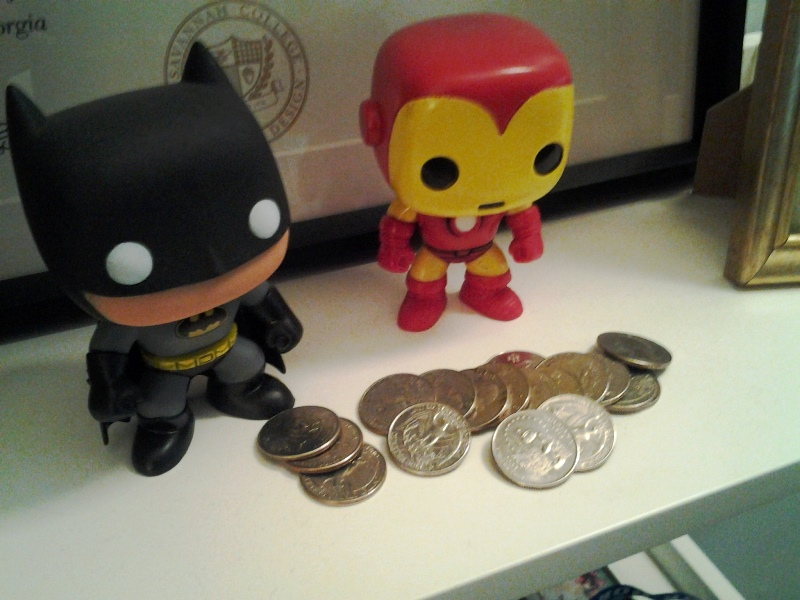 I gave Kara, Sloan, and Tori a bunch of quarters for the bus. At the end of the weekend, all the extra ones ended up by these guys on my bookshelf for some reason??