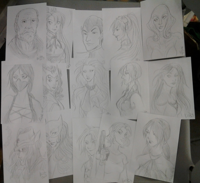 FIFTEEN PENCIL SKETCHES.