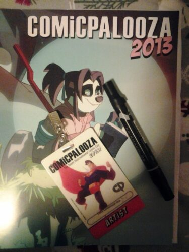 Comicpalooza program and badge.
