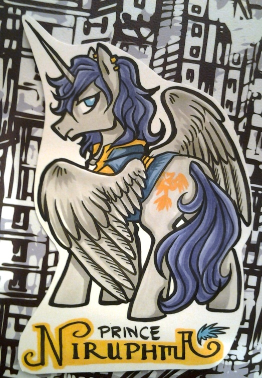 Badge example of one of my OCs as a pony. :3