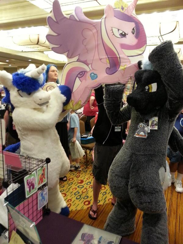 Shining Armour and Thunderlane throwin' the wife around. (Photo by Skeeter, Onna's table helper!)
