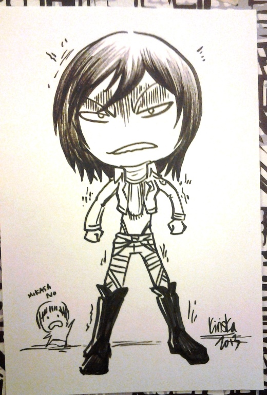 I drew a Mikasa too. One Mikasa in the sea of Levis.