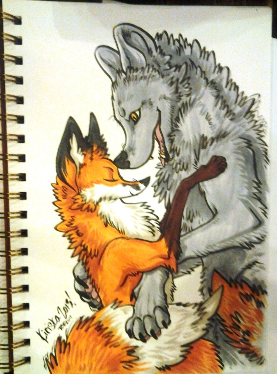 Color sketchbook commission for Kyell and his husband. The rest of the pieces in the sketchbook were super cute too!