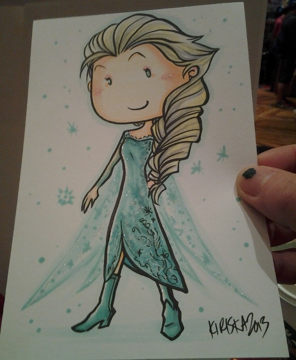 I drew Elsa for Jorge because he's in love with the movie Frozen.