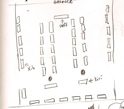 Chibi Chibi vendors map. The black dots are pillars.