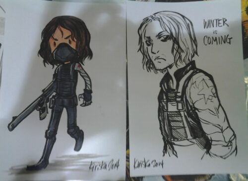 Some sketch card examples I doodled while bored at the table.