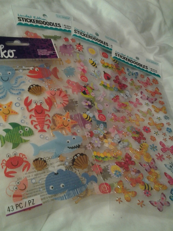 Very important purchases: stickers! (That shark, you guys.)