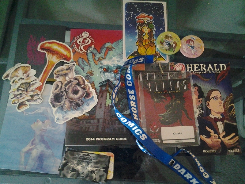 RCCC swag, mostly trades with other artists.