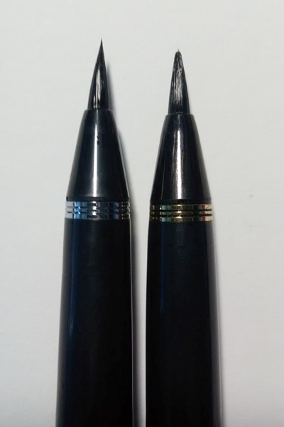 Kuretake #8 (left) VS Kuretake #13 (right).