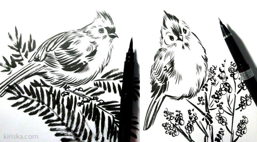 Left: Pentel pocket brush; right: Kuretake #8.