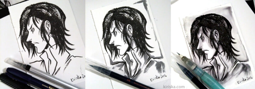 Pen test on 140 lb/300 gsm Arches coldpress watercolor paper.