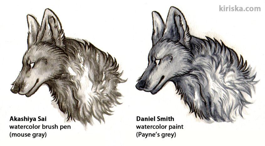 Akashiya Sai watercolor brush VS Daniel Smith actual watercolors.