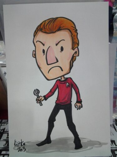 Did a color sketch of Simon Pegg as Scotty for Stephanie while bored.