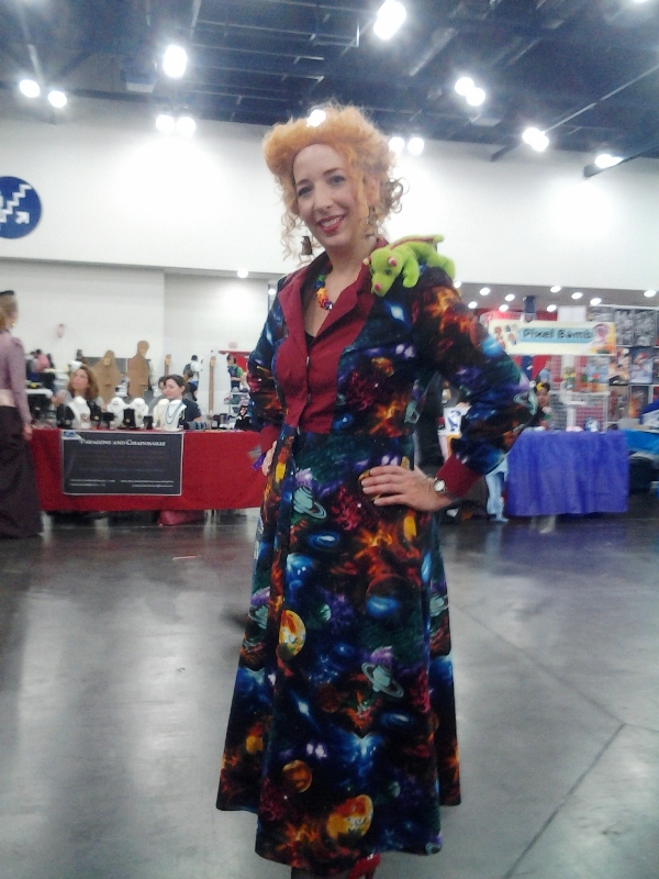 TIME LORD Miss Frizzle! With Dalek earrings! (And a TARDIS on her dress that you can't see...)