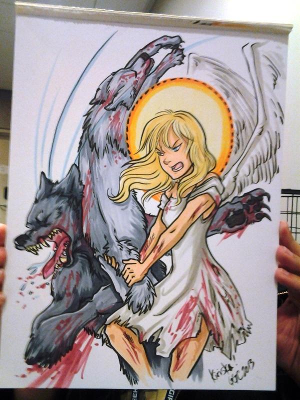 """An angel beating up a werewolf with another werewolf."""