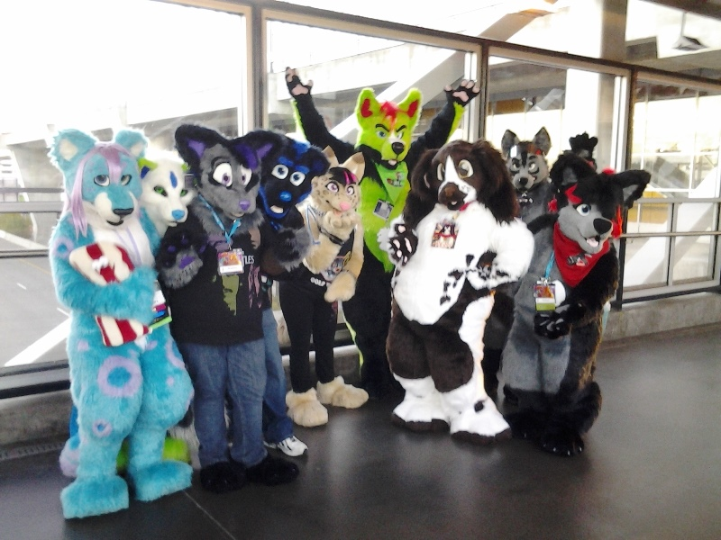 Fursuiters on the skybridge