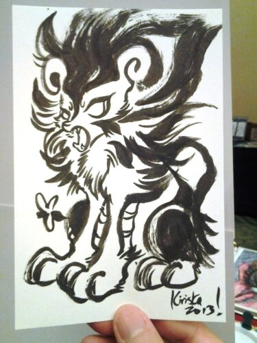 Ink sketch card I did for one of my coffee-runners.