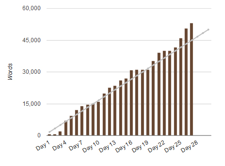 NaNoWriMo progress chart 2013