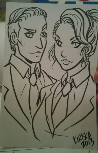 An ink sketch card commission I was pretty pleased with. It's those people from BioShock Infinite.