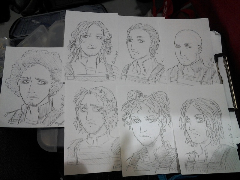 7x sketch card commissions! Bucky, do you need help with your hair, dude.