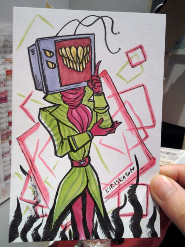 Sketch card commission of Robin's cool TV head character. SPARKLES!