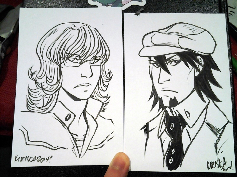 Ink sketch card commissions of Barnaby and Kotetsu!