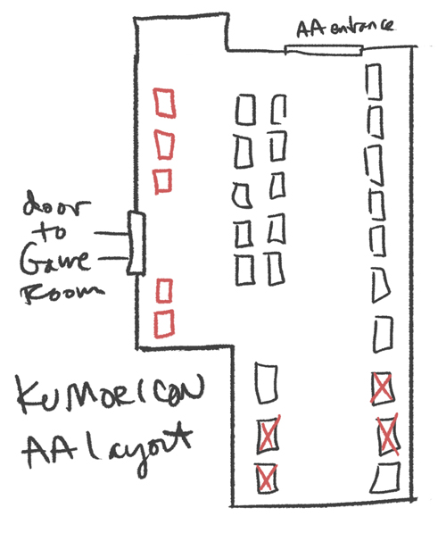 Kumoricon AA table shuffle; diagram is approximate and number of tables is inaccurate.