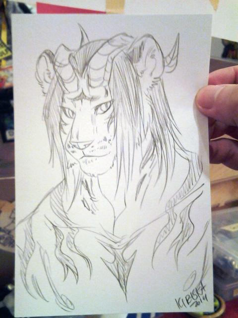 Pencil sketch card.
