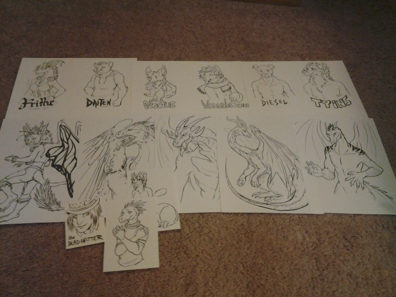 ALL of the to-be colored commissions from Friday night, at their inked stage. Not shown are the commissions that only required pencils.