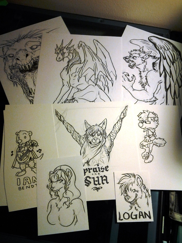 All the Saturday night commissions, inked.