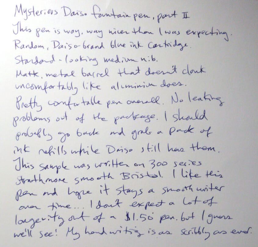 Daiso fountain pen writing sample
