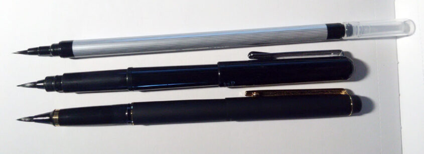 Akashiya Sai ThinLine, Pentel pocket brush, Kuretake #40, capped comparison.