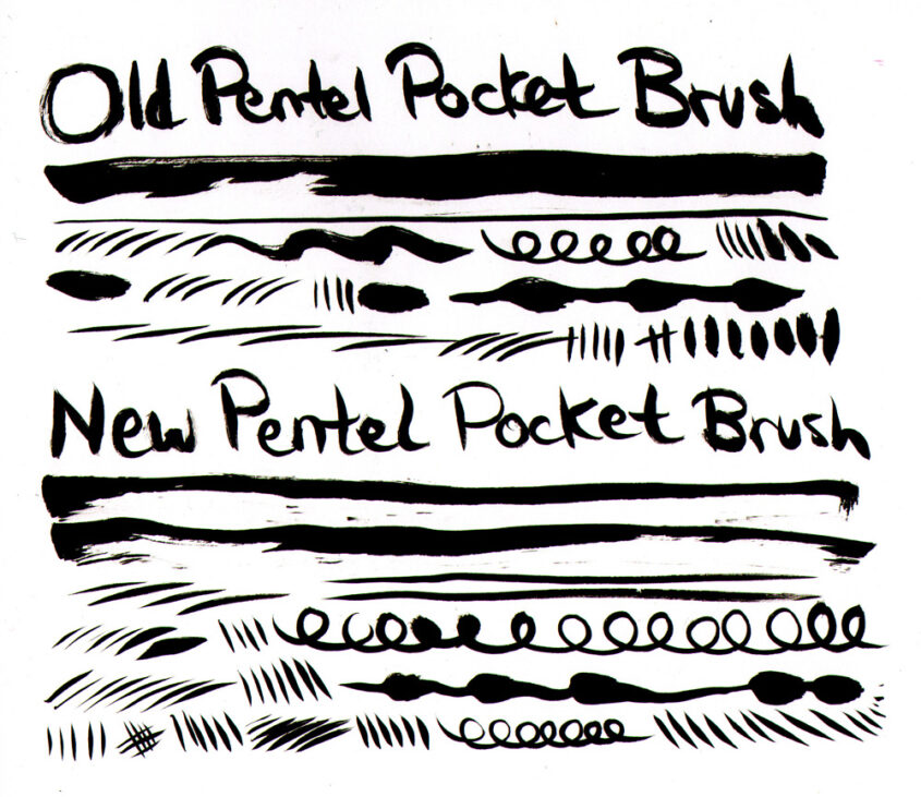 Even the Pentel pocket brush with the ruined tip works pretty well, tbh.
