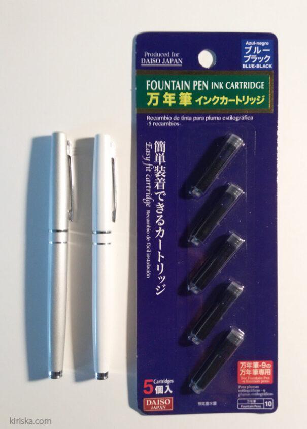 Daiso fountain pen and their standard refills.