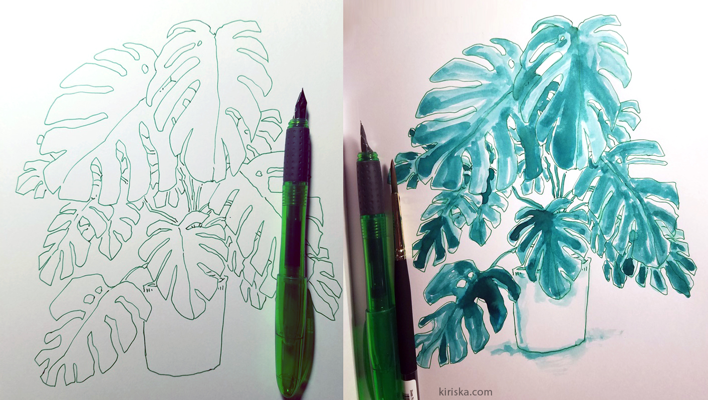 Ooly Splendid Pen with green ink + Waterman Harmonious Green and brush