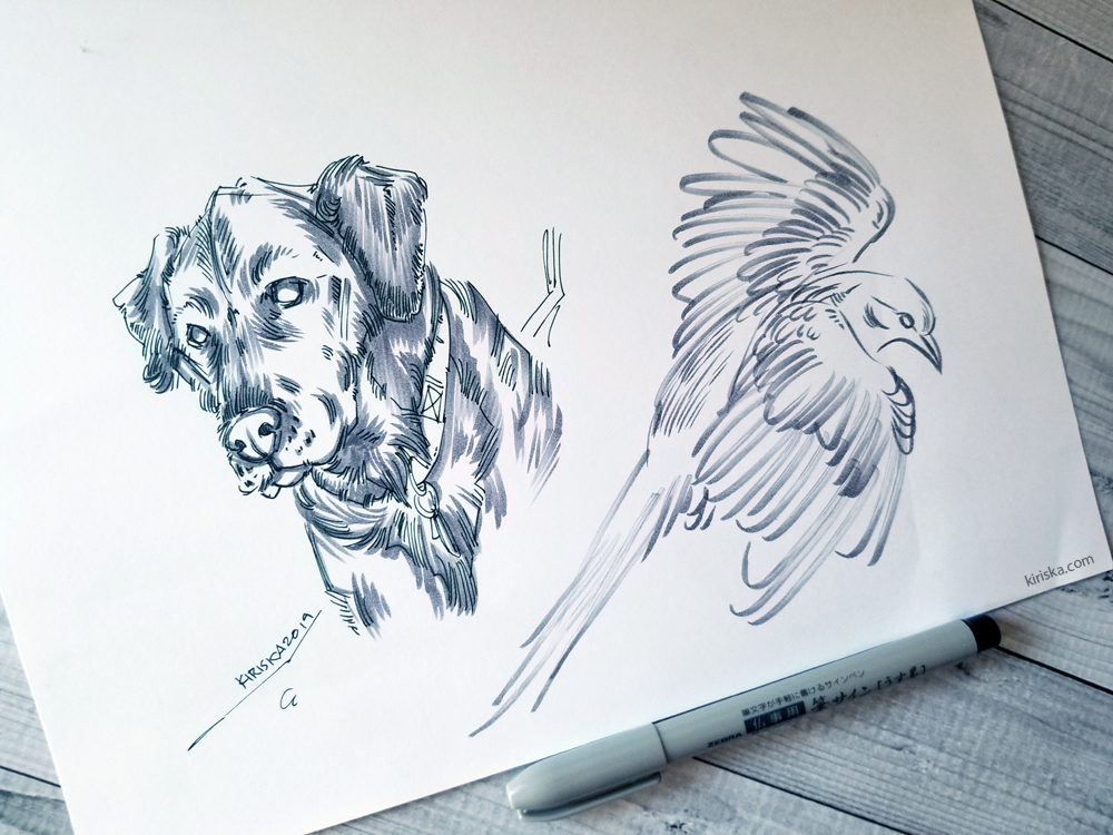 Drawing samples with Zebra Usu-Zumi brush pen