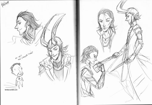 A page of Loki doodles