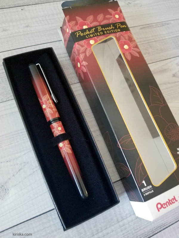 The limited edition (LE) camellia Pentel pocket brush