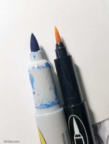 Marvy Le Plume and Le Plume fine brush tip comparison
