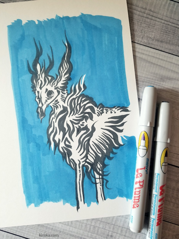 Drawing sample using only the grey and blue Marvy Le Plume markers