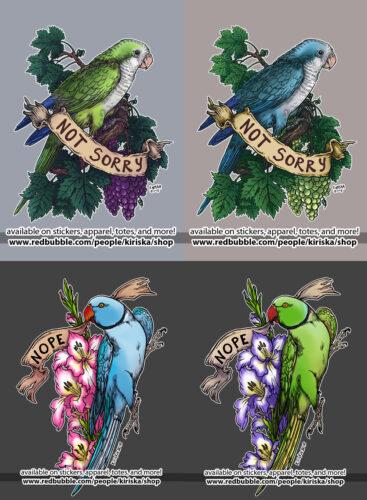 Not Sorry (Quaker parrot) & Nope (Ringneck parakeet)