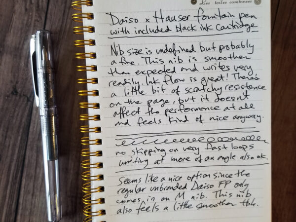 Daiso Hauser fountain pen initial writing sample