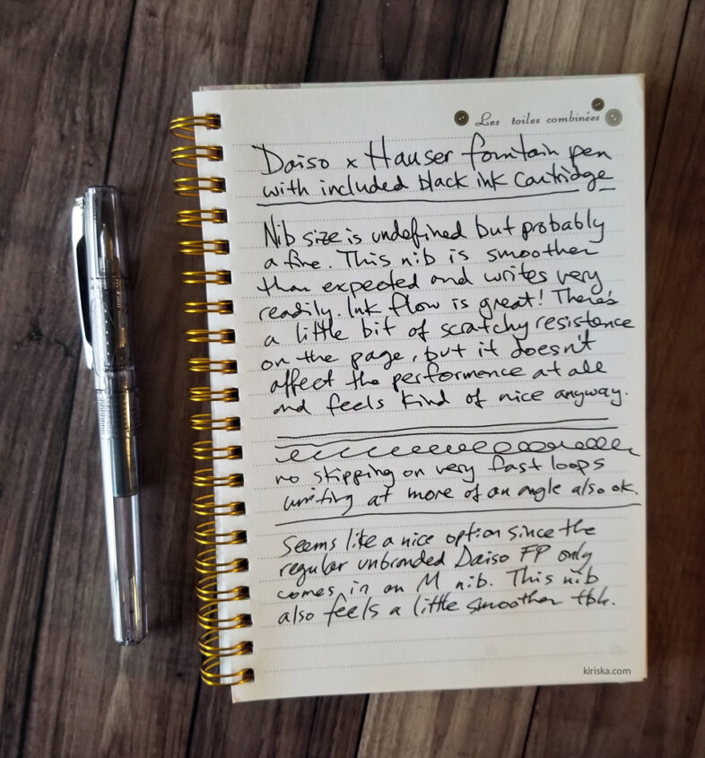 Daiso Hauser fountain pen initial writing sample