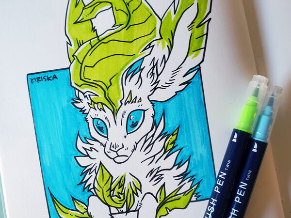 Leafeon colored with Daiso Graphoo calligraphy marker