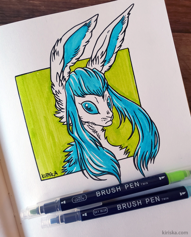 Glaceon colored with Daiso Graphoo calligraphy marker