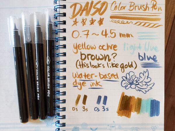 Daiso Color Brush Pen initial test